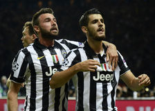 Andrea Barzagli and Alvaro Morata Stock Images