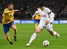 Andrea Barzagli and Heung-Min Son. Players pictured during the UEFA Champions League Round of 16 game between Tottenham Hotspur and Juventus Torino held on March Stock Photo