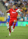 Andrea Dossena of Liverpool FC. Andrea Dossena, Italian player of Liverpool FC, in action during a friendly match against RCD Espanyol at the Estadi Cornella-El Stock Photo