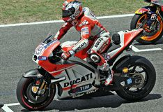 Andrea Dovizioso in the circuit of Catalonia Royalty Free Stock Images