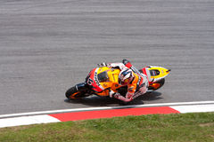 Andrea Dovizioso at Shell Malaysian Motogp. Andrea Dovizioso mid turn at Shell Malaysian Motogp October 2009 Royalty Free Stock Photos