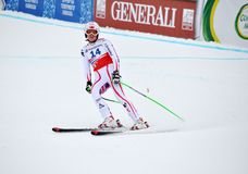 Andrea Fischbacher finishing on Ski World Cup 2012 Royalty Free Stock Photography