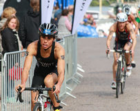 Andrea Hewitt cycling after the transition zone Stock Photography