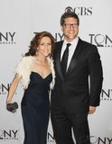 Andrea McArdle and Christopher Sieber. Former original `Annie` leading lady, Andrea McArdle arrives with Broadway actor and singer, Christopher Sieber, on the Royalty Free Stock Photo