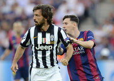 Andrea Pirlo e Lionel Messi Fotos de Stock Royalty Free