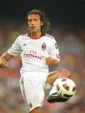 Andrea Pirlo player of AC Milan. In action during Trophy Joan Gamper match between FC Barcelona and AC Milan at Nou Camp Stadium in Barcelona, Spain. August 25 Royalty Free Stock Photo