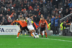 Andrea Pirlo between Shakhtar football players Royalty Free Stock Photography