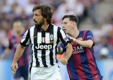 Andrea Pirlo y Lionel Messi Fotos de archivo libres de regalías