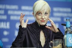 Andrea Riseborough attends the press conference royalty free stock photos