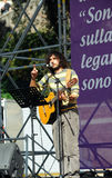 Andrea Rivera. The italian singer and comedian Andrea Rivera durind the demonstration of the Popolo Viola (People in Purple) against the Berlusconi's governement Royalty Free Stock Photo