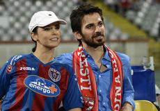 Andreea Marin. Romanian TV Star Andreea Marin and her lover pictured during the Romanian League 1 game between Dinamo Bucharest and ASA Targu Mures, 1-1 Royalty Free Stock Image