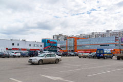 Andreevka, Russia - April 11.2016. View of the store Auchan and shopping mall  Energy Stock Images
