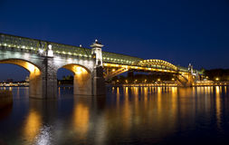 Andreevsky bridge in Moscow at night Royalty Free Stock Photography