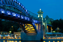 Andreevsky  Bridge in to night Stock Photo