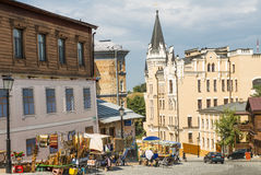 Andreevsky Sinkflug in Kyiv Stockfotografie