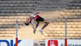 Andrei Churyla - gold medalists of the high jump Stock Images