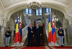 ANDREJ KISKA and KLAUS IOHANNIS. Andrej Kiska ( CL ), President of the Slovak Republic pictured during an official meeting with Romanian President Klaus Iohannis Stock Images