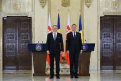 ANDREJ KISKA and KLAUS IOHANNIS. Andrej Kiska ( L ), President of the Slovak Republic pictured during an official meeting with Romanian President Klaus Iohannis Royalty Free Stock Images