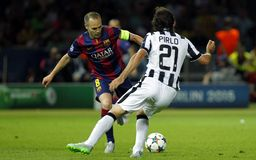 Andres Iniesta and Andrea Pirlo Juventus v FC Barcelona - UEFA Champions League Final Royalty Free Stock Images