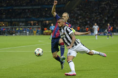 Andres Iniesta and Arturo Vidal Royalty Free Stock Photos