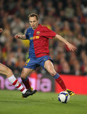 Andres Iniesta FC Barcelona. BARCELONA, SPAIN : Andres Iniesta Spanish international Futbol Club Barcelona player in action during the match between FC Barcelona Royalty Free Stock Photo