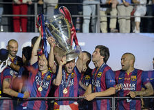 Andres Iniesta lifts the UEFA Champions League Trophy Stock Image