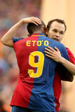 Andres Iniesta & Samuel Eto'o FC Barcelona. BARCELONA, SPAIN : Andres Iniesta Spanish international Futbol Club Barcelona player and international Cameroonian Royalty Free Stock Photos