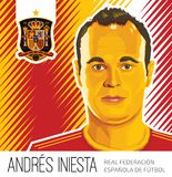 Andres Iniesta Spanish Football Star vector illustratie