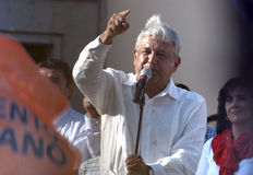 Andres Manuel Lopez Obrador Stockfotos