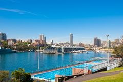 Andrew 'Boy' Charlton pool, perched above Sydney Harbour – stunning view royalty free stock photography