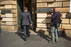 Andrew Coulson arrives at Scotland`s High Court stock photography