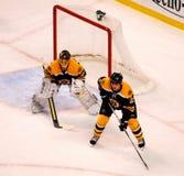 Andrew Ference e NHL di Boston Bruins di Tuukka Rask Immagini Stock Libere da Diritti