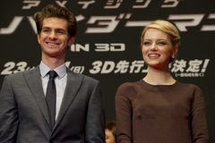 Andrew Garfield et Emma Stone Photo stock