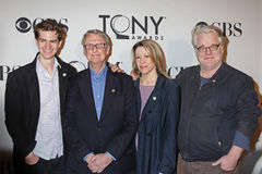 Andrew Garfield, Mike Nichols, Linda Emond, e Philip Seymour Hoffman Fotos de Stock Royalty Free