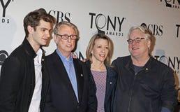 Andrew Garfield, Mike Nichols, Linda Emond i Philip Seymour Hoffman, Zdjęcia Stock