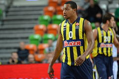 Andrew Goudelock. LUBIN 23/10/2014 _ 2nd round Euroleague basketball match between the PGE Turow Zgorzelec and Fenerbahce Ülker Istanbul royalty free stock photography