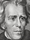 Andrew Jackson affronta su una macro alta vicina di venti banconote in dollari, 20 usd Fotografia Stock