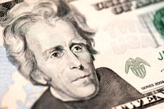 Andrew Jackson. Closeup of Andrew Jackson's portrait on a US twenty dollar banknote Royalty Free Stock Image