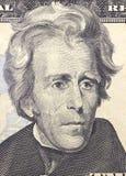 Andrew Jackson enfrenta em dólares do macro da conta dos E.U. vinte ou 20, close up do dinheiro de Estados Unidos Imagens de Stock