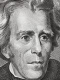 Andrew Jackson enfrenta em um macro ascendente próximo de vinte notas de dólar, 20 usd fotografia de stock