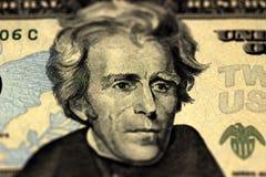 Andrew Jackson hace frente en dólares de macro de la cuenta de los E.E.U.U. veinte o 20, primer del dinero de Estados Unidos Imagen de archivo libre de regalías