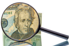 Andrew Jackson and magnifier on white background Stock Image