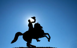 Andrew Jackson Silhouette. Silhouette of a statue of Andrew Jackson in New Orleans royalty free stock images