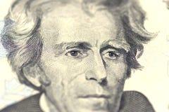 Andrew Jackson stående från oss 20 dollar Arkivbild