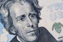 Andrew Jackson stående på räkning för US dollar 20 royaltyfria bilder