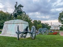 Andrew Jackson Statue in Kanon-Präsident ` s Park, Lafayette Squa lizenzfreie stockfotos
