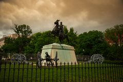Andrew Jackson Statue in Lafayette-Quadrat im Washington DC stockfotos