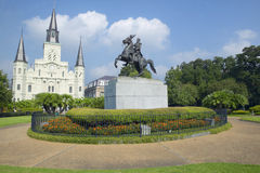 Andrew Jackson Statue & St. Louis Cathedral, Jackson Square in New Orleans, Louisiana Stock Photography