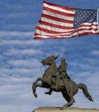 Andrew Jackson Statue y bandera de los E.E.U.U., New Orleans Imagen de archivo
