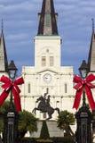 Andrew Jackson Statue y St Louis Cathedral Imagen de archivo